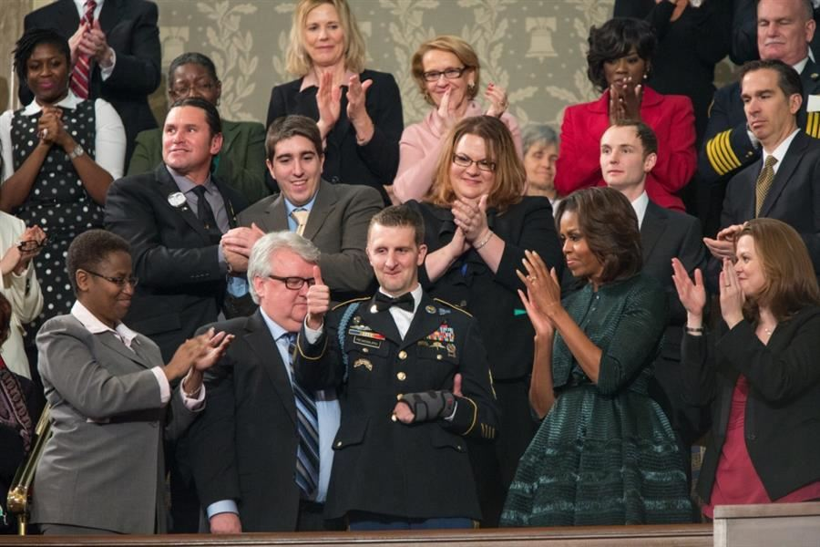 Cory Remsburg at the State of the Union Address, Jan. 2014. Photo by Pete Souza